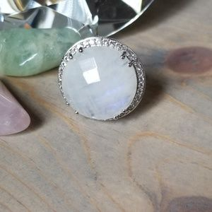 Jewelry - Huge moonstone white topaz sterling silver ring